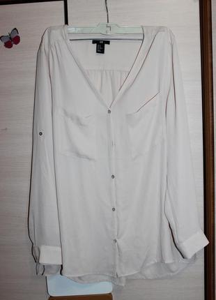 Стильна шифонова блузка , блуза нюдового кольору  h&m
