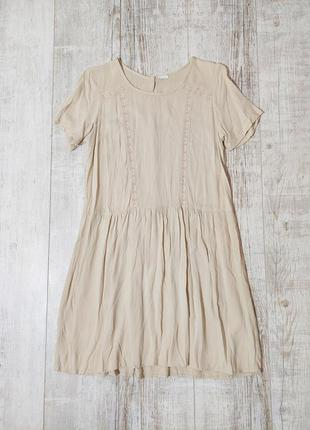 Легкое летнее платье бежевое
