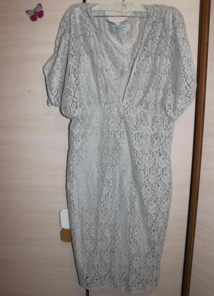 Стильное кружевное серое платья  zara