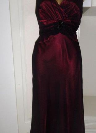 Шикарное вечернее платье , шелк, бардовое, country casuals, cc, 48