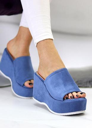 Шикарные женские замшевые синие шлёпки шлёпанцы сабо на платформе