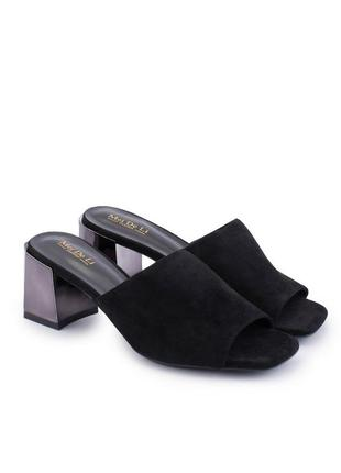 Новые женские стильные шлёпанцы на каблуке босоножки летние экозамша