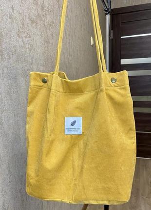 Вельветовая сумка-шопер