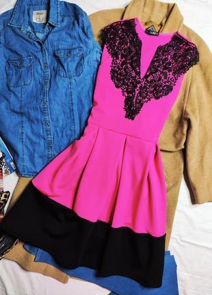 Quiz платье розовое фуксия малиновое с черным кружевом миди свободная юбка