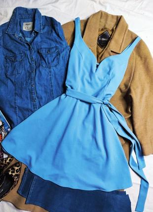 New look платье голубое с поясом со свободной юбкой с вырезом классическое повседневное