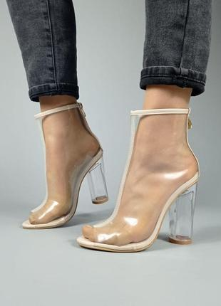 Прозрачные летние туфли с молнией сзаде на каблуке женские - женская летняя обувь 2021