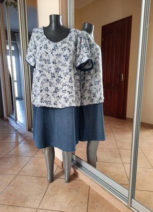 Джинсовое с блузоном платье 👗большого размера