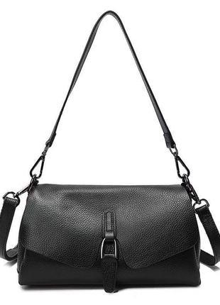 Женская сумочка из натуральной кожи с длинной короткой ручкой черная жіноча сумка