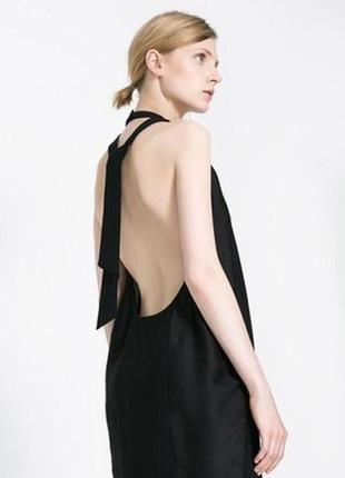 Черное платье с открытой спинкой, zara