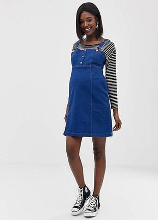 Ge be джинсовый сарафан платье на пуговицах для беременных