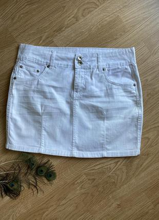 Біла джинсова спідниця, белая  джинсовая юбка м размер