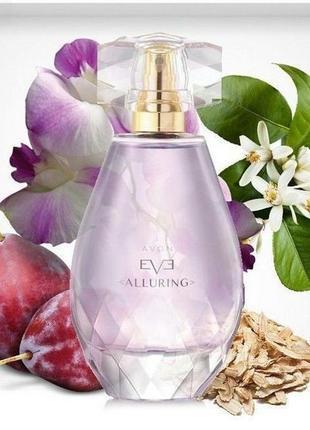 Женская парфюмерная вода avon eve alluring 50мл восточный цветочный древесный аромат