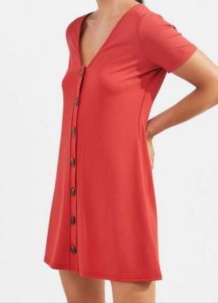 Базовое летнее платье рубчик на пуговицах низкий рост