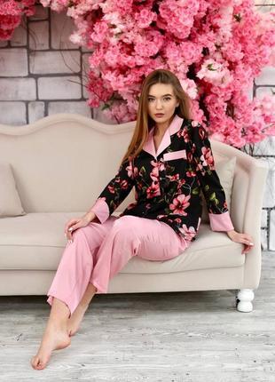 Шелковая пижама домашний костюм рубашка и штаны, шовкова піжама