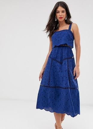 Тонкое ажурное платье  миди asos