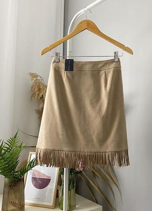 Стильная юбка в стиле вестерн с бахромой dorothy perkins