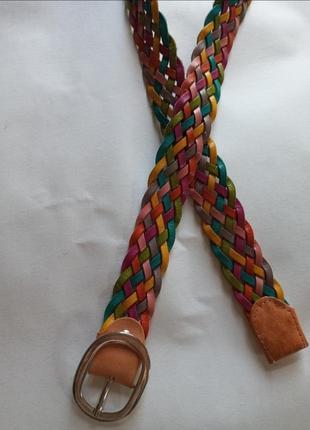 Фирменный брендовый плетеный ремень/ремінь плетение кожа радужный разноцветный