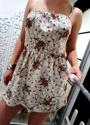 Платье topshop s-m бежевое гипюровое ажурное воздушное нежное летнее zara asos