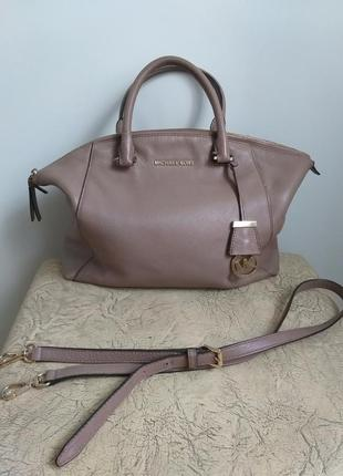 Michael kors оригинал. кожаная сумка. пудровая сумка. темная пудра.