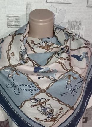 Шелковый платок морская тематика3 фото