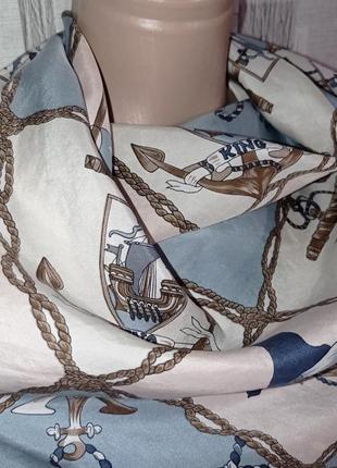 Шелковый платок морская тематика4 фото