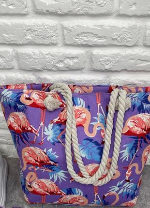 Женская пляжная сумка с принтом фламинго