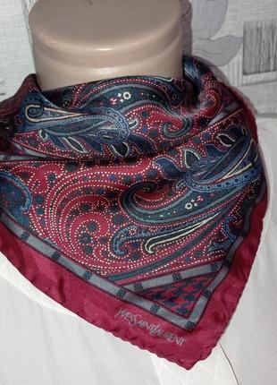 Шелковый платок шейный ysl yves saint laurent6 фото