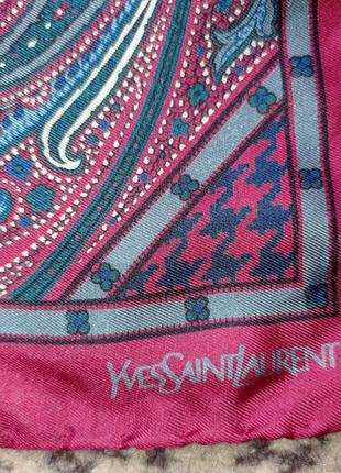 Шелковый платок шейный ysl yves saint laurent