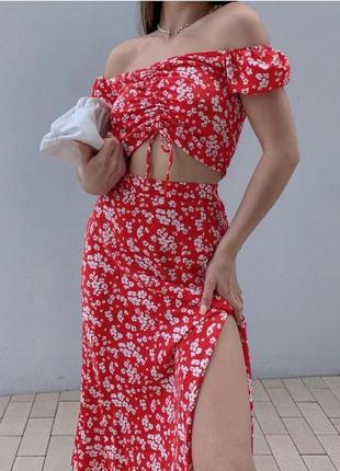 Женский костюм топ юбка в цветок 2 цвета💔