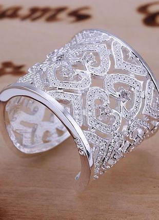 Кольцо коктельное с сердечками и цирконом стерлинговое серебро 925 пробы