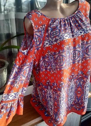 Натуральная блузка топ бохо стиль большой размер.
