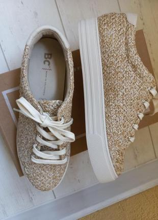 Трендовые кроссовки, кеды, сникерсы на высокой подошве из рафии bc footwear
