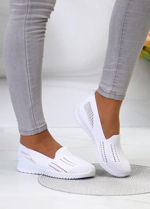 """Легкие и удобные, белые мокасины """"chill"""" из обувного текстиля"""