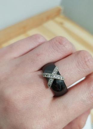 Шикарное керамическое кольцо черное с цирконами колечко керамика перстень кільце
