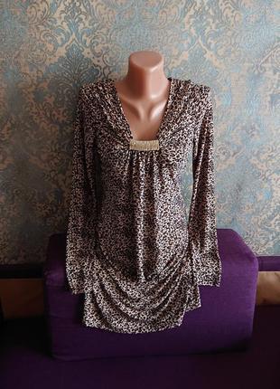 Скидки 🏷️ акция 🔥 красивое леопардовое платье с украшением ввиде броши