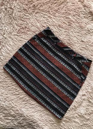 Трендовая юбка гобелен с кармашками