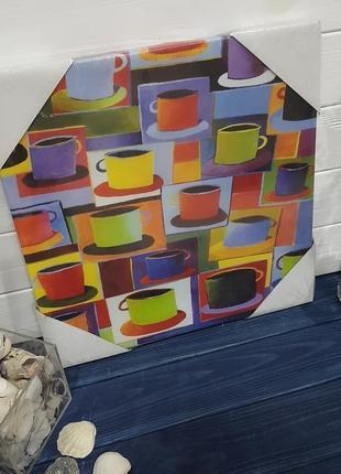 Картина в кухню в стиле поп-арт , принт на холсте, чашки