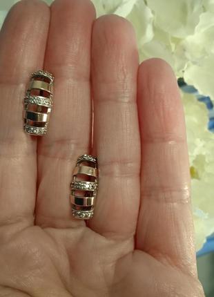Стильные серьги серебро 925, золото 375, пр-во украина