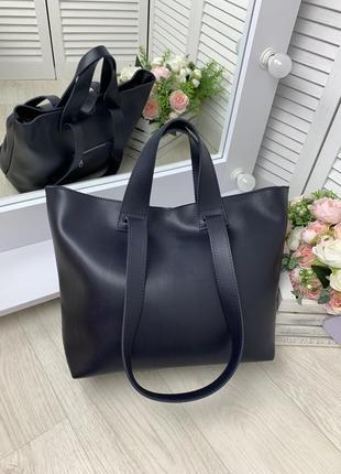 Большая женская сумка шопер плечевые ручки темно синяя