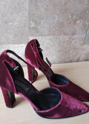 Шикарные бархатные туфли босоножки марсала италия