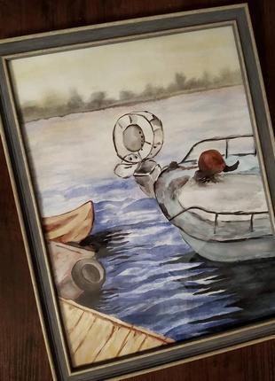 """Картина акварель 40*30 """"причал"""" ручная работа"""