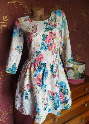 Платье с цветочным принтом и рукавами от panas