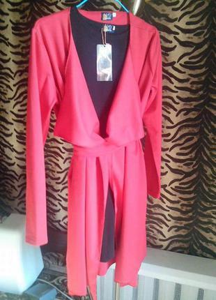 Кардиган + платье чулок комплект пиджак хит праздничное