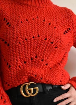 Стильный теплый красный свитер h&m