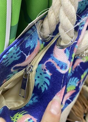 Текстильная синяя большая пляжная сумка с розовыми фламинго