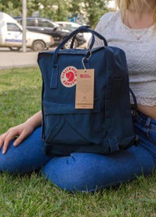 Городской рюкзак fjallraven kanken classic handles 16 л темно-синий ручка в точку