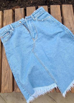 Джинсовые юбочки с бахромой