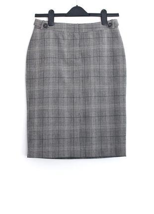Базовая юбка в клетку с разрезиком впереди h&m • р-р 34 (xs)