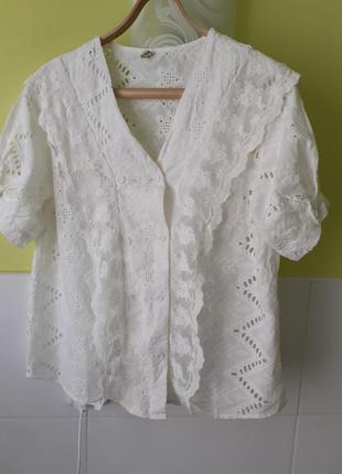 Шикарная белая рубашка блуза блузка прошва вышивка ришелье
