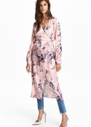 Стильное платье халат, платье на запах в цветочный принт от h&m.